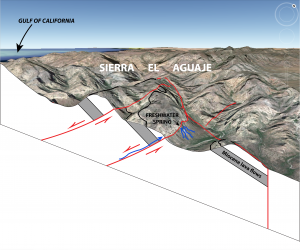 Pic 3: Schematic oblique diagram of faults and subsurface water flow paths in the Sierra El Aguaje. Freshwater spring is same as next photograph.